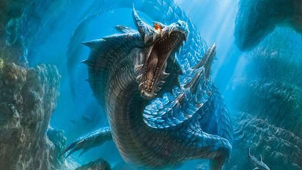 迫力のある水中ドラゴン