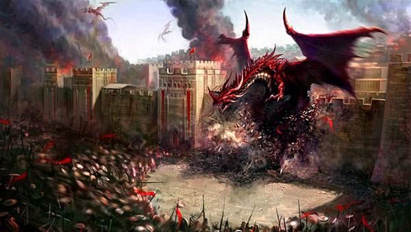 城内に侵略してくる赤いドラゴン