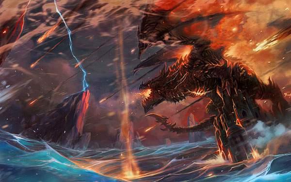 城の上に立つドラゴン