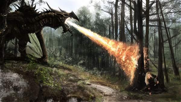 森の中のドラゴンと戦う女性