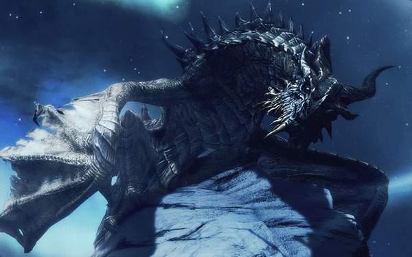 夜空とドラゴンの綺麗なイラスト壁紙