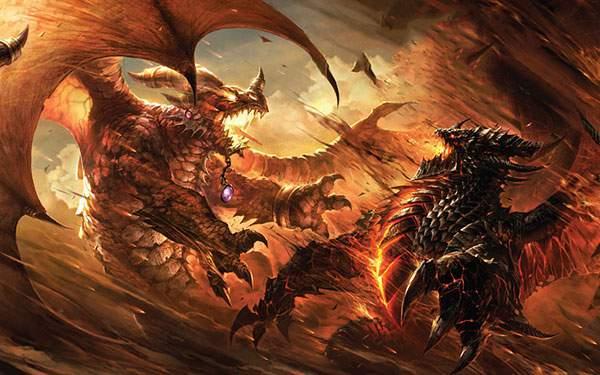 激しい戦いをする2匹のドラゴン