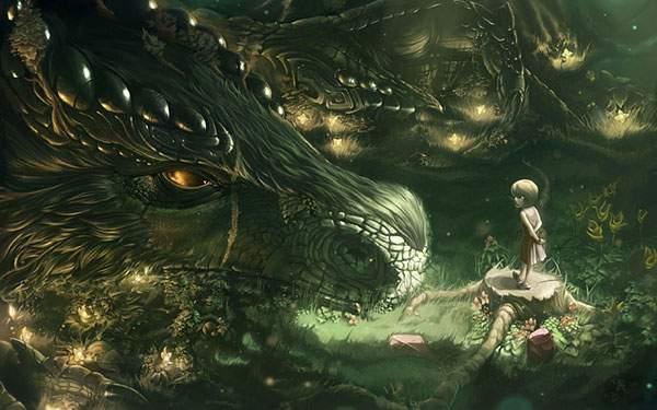 巨大なドラゴンと少女のイラスト壁紙