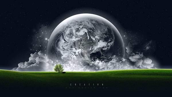 平原の奥に見える地球の画像