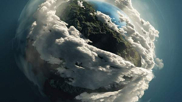 分厚い雲の流れる地球のイラストアート画像