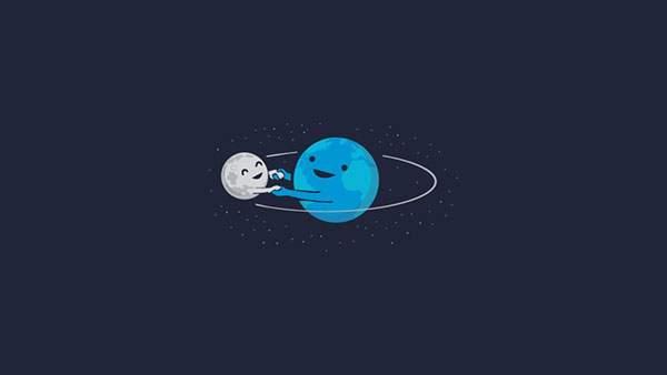 仲良く手をつないで回る地球と月のイラスト