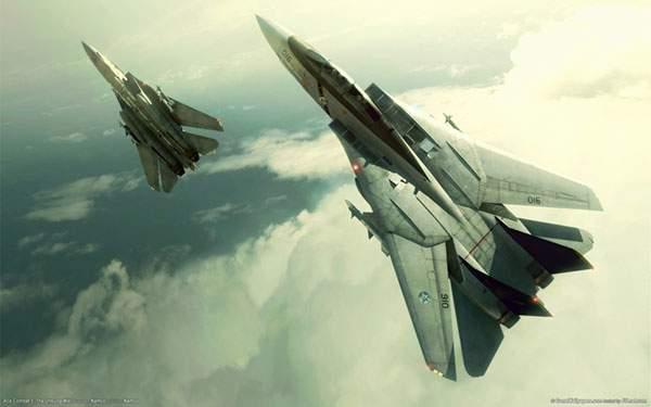 雲の上の2機の戦闘機