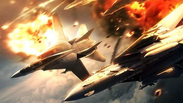 爆発しながら落ちていく戦闘機のイラスト壁紙