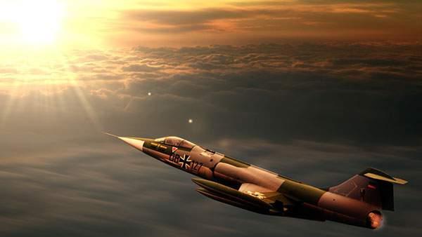 夕日の空と戦闘機の壁紙画像