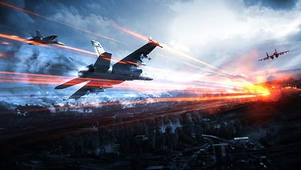 街と3機の戦闘機