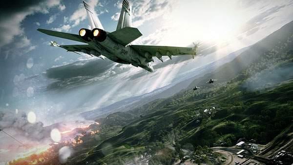 戦場を飛ぶ戦闘機と太陽