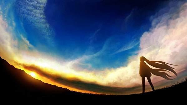 夕日と空とミクのシルエット