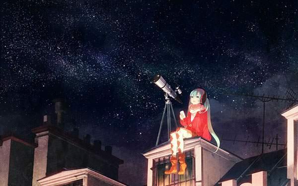 星空と天体観測する初音ミク