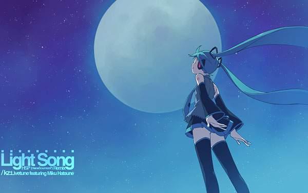 夜空の満月を見上げる初音ミク