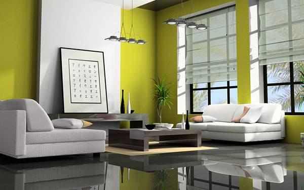 緑を基調とした落ち着いたリビングルーム