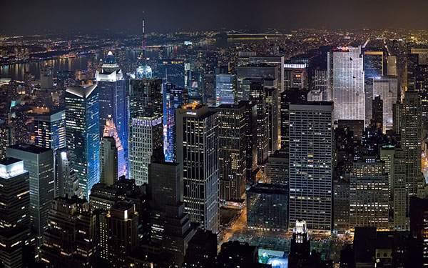 美しい夜景の空撮画像