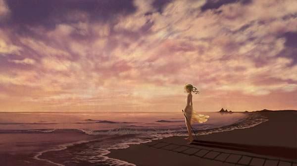 夕焼けの海岸とGUMI