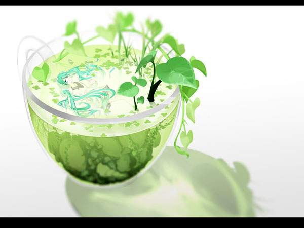 ガラスのカップと葉っぱと初音ミクのイラスト