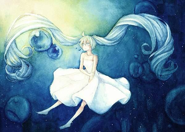 水彩塗りが美しい初音ミクの壁紙画像