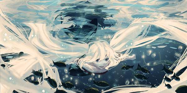 楽しそうに海を泳ぐ初音ミクの画像