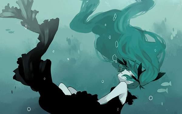 海の底に沈んでいく初音ミク