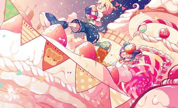 巨大なケーキの上を走るリンとレンのファンタジーなイラスト