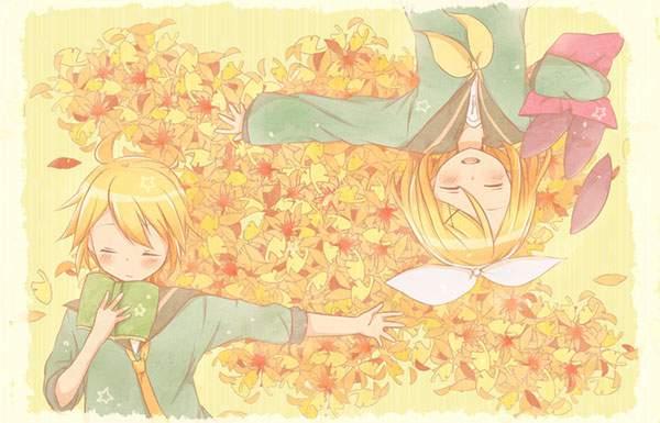 落ち葉の上に寝そべるリンとレンのきれいなボカロ画像