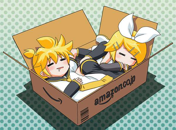 Amazonの箱の中で眠るリン&レン