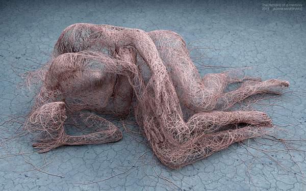 さまざまなマテリアルで人間を描くシュールな3DCGアート - 02