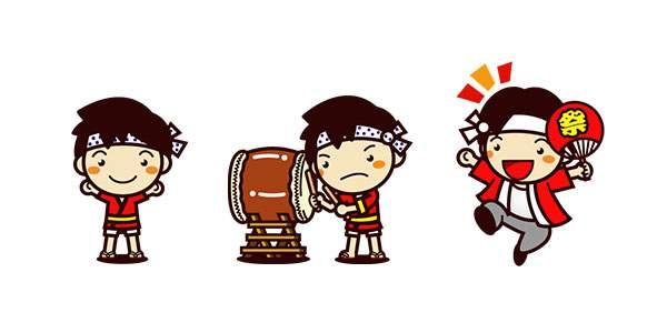 夏、夏祭りのフリー素材(1)
