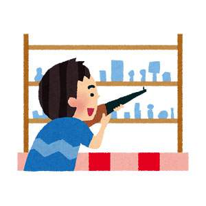 射的をする男の子のイラスト(お祭り)