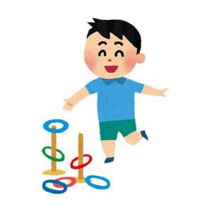 輪投げをしている男の子のイラスト