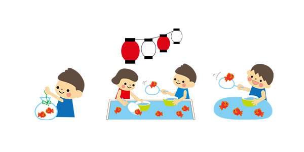 夏まつり(なつまつり・金魚すくい)のイラスト