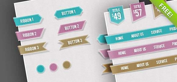 Free Web UI Set – Navigations, Buttons, Circles and Ribbo