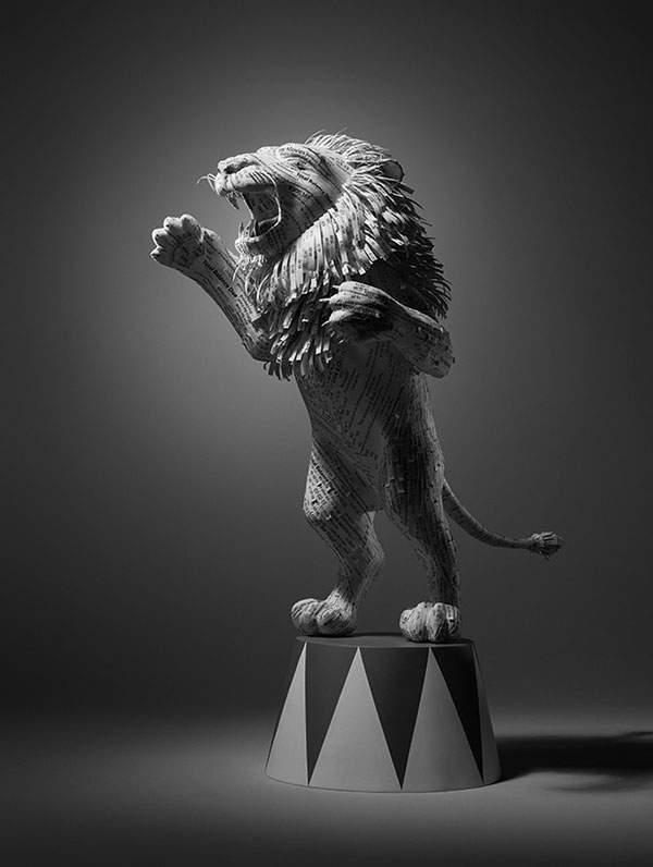ホテルの領収書で出来たライオンのペーパーアート - 01