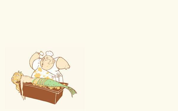人魚を包丁でさばく料理人のイラスト