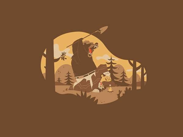 マシュマロを楽しそうに焼く背後からクマが!