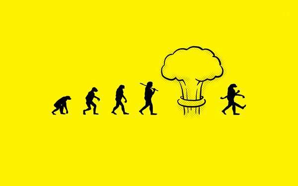 危ない進化論を描いたイラスト壁紙