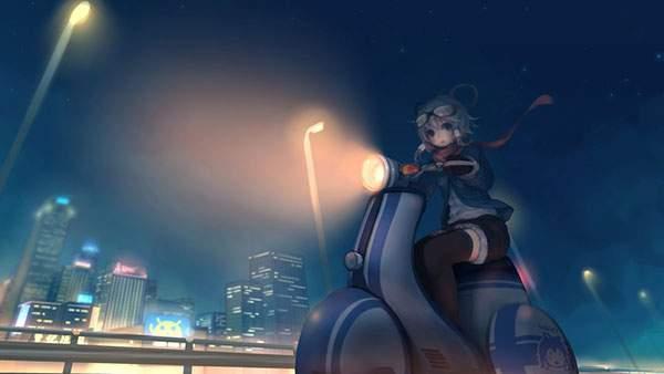 バイクで夜の街を走るGUMIのかわいい壁紙画像