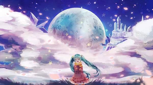 月とお城と初音ミクのかわいボカロ画像