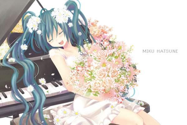 ピアノとたくさんの花束を持った初音ミク
