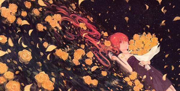 薔薇の花束と寝そべった初音ミク