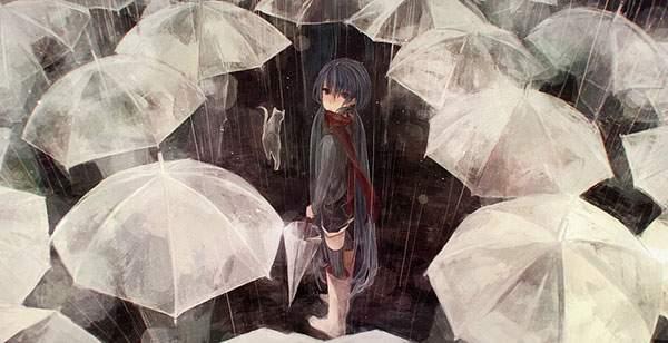 たくさんのビニール傘と雨に濡れた初音ミクの壁紙画像