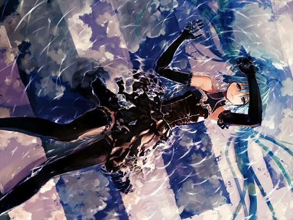 水たまりと黒いドレスを着た初音ミクのイラスト画像