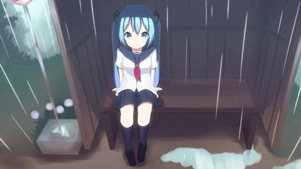 バス停で雨宿りするセーラー服のミクのかわいいイラスト