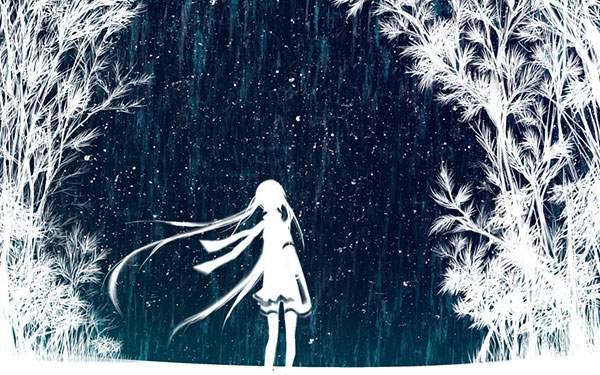 雨と初音ミクをシルエットで描いたイラスト壁紙