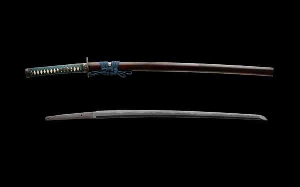 黒背景で刀と鞘を撮影した写真壁紙