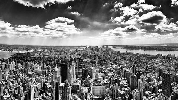 ビル街を空撮した写真の壁紙画像