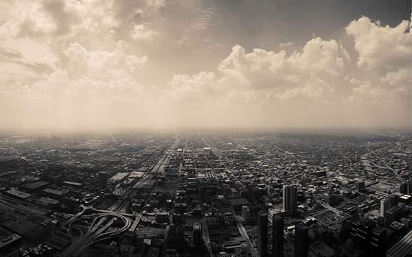 街と地平線を上空から撮影した写真壁紙