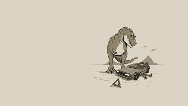 修理中のデロリアンとそれを見つめるティラノサウルス